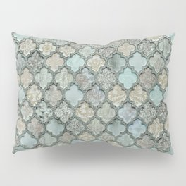 Old Moroccan Tiles Pattern Teal Beige Distressed Style Pillow Sham