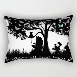 We're All Mad Here III - Alice In Wonderland Silhouette Art Rectangular Pillow