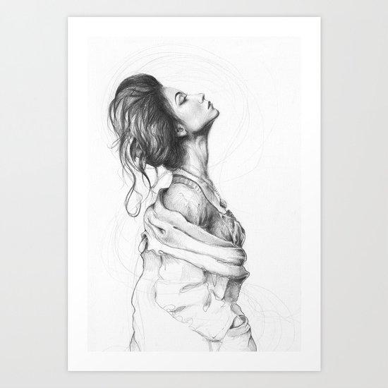 Pretty Lady Pencil Portrait Fashion Art Art Print