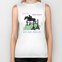 Eyes Up! Heels Down! & Just Jump It! Equestrian Biker Tank