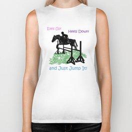 Eyes Up! Heels Down! & Just Jump It! Equestrian Biker Tank