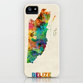 Belize Watercolor Map iPhone Case