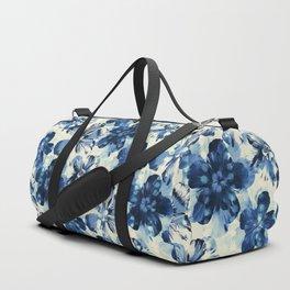 Shibori Inspired Oversized Indigo Floral Duffle Bag