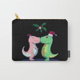 Christmas Mistletoe Dinosaur Carry-All Pouch