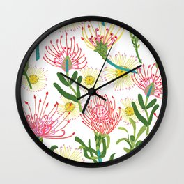 pincushion proteas Wall Clock