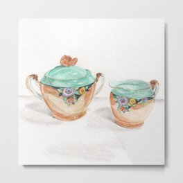 Sugar and Creamer Metal Print