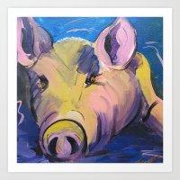 Pig in Pink Art Print