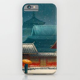 Vintage Japanese Woodblock Print Japanese Red Shinto Shrine Pagoda Winter Snow iPhone Case