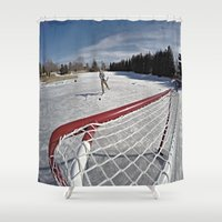 hockey Shower Curtains featuring Pond Hockey  by LukeyD