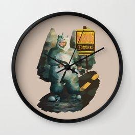 kawaii against zombies Wall Clock
