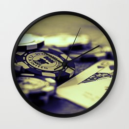 Casino Chips & Cards-B&W Wall Clock