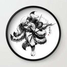 Nine-tail fox spirit (Tamamo-no-mae) Wall Clock