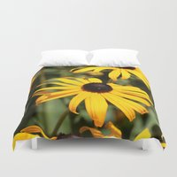 dentist Duvet Covers featuring Happy Flowers by IowaShots