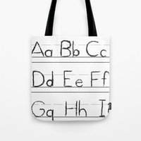 letters Tote Bags featuring Letters by Bryan Brickley