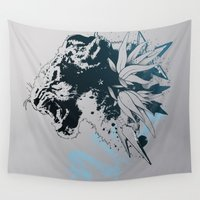 snow leopard Wall Tapestries featuring Snow Leopard (Blue) by Hexstatic