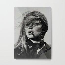 Brigitte Bardot Smoking a Cigarette, Black and White Photograph Metal Print
