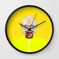 walter white Wall Clocks featuring Walter White by Matteo Lotti