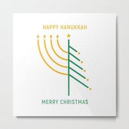 Merry Christmas, Happy Hanukkah Metal Print