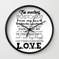 lettering Wall Clocks featuring Lettering Lyrics by Insait