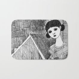 Girl on the top of her house. Bath Mat