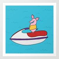Jet Ski Pig Art Print
