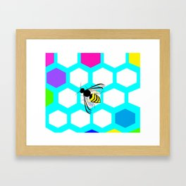 A Many Colored Honeycomb and Bee Framed Art Print