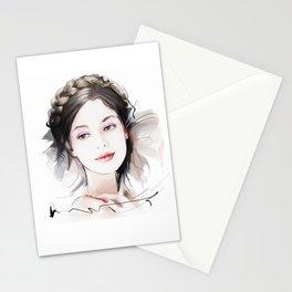 Girls portrait Stationery Cards