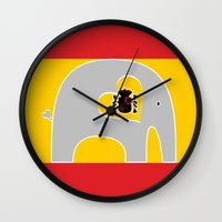 spanish Wall Clocks featuring Spanish Elephant by Elephant Love