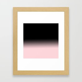Modern abstract elegant black blush pink gradient pattern Framed Art Print