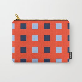 Geometric abstraction: dark and light cobalt blue squares on scarlet red Carry-All Pouch