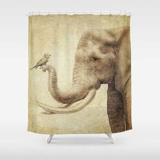 A New Friend (sepia drawing) Shower Curtain