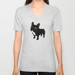 Brindle Frenchie likes to go for a walk to meet some friends Unisex V-Neck