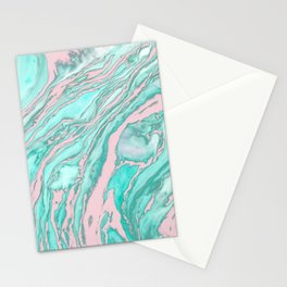 Girly Modern Pink Teal Green Smoky Marble Pattern Stationery Cards