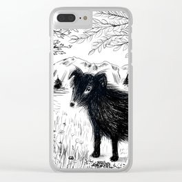 Black Dog in the Woods Clear iPhone Case