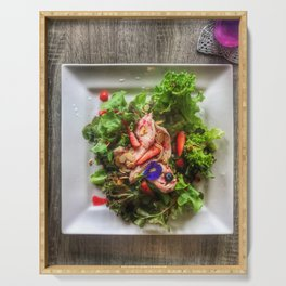 Top view shot photography of Organic Raspberry chicken Salad. Serving Tray