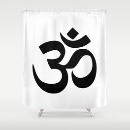 Minimal Black & White Om Symbol Shower Curtain