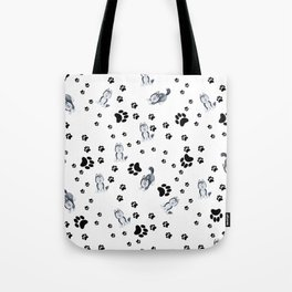 Hand painted watercolor black white dog paw's pattern Tote Bag