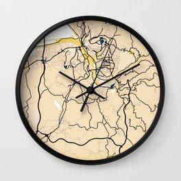 Coimbra Yellow City Map Wall Clock