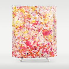 Pink Grapefruit Watercolour Rain Shower Curtain