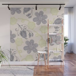 Modern vintage mint green ivory gray floral Wall Mural