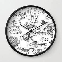 Arrangement of doodle fish Wall Clock