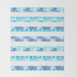 Blue & Purple Watercolor Stripes Throw Blanket