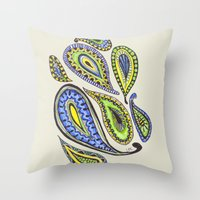 paisley Throw Pillows featuring Paisley by Laura Maxwell