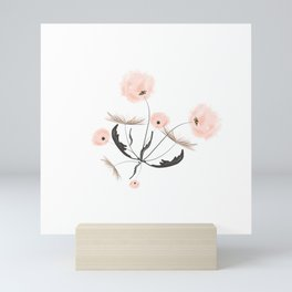 Sweet dandelions in pink - Floral Watercolor illustration with Glitter Mini Art Print