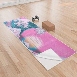 Vaporwave Aesthetic Great Wave Off Kanagawa Synthwave Sunset Yoga Towel
