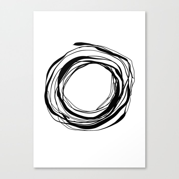 Abstract Line No.17 Black and White Canvas Print