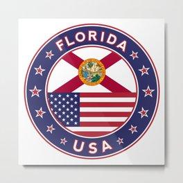 Florida, Florida t-shirt, Florida sticker, circle, Florida flag, white bg Metal Print