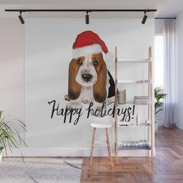 Cute Santa basset hound dog.Christmas puppy gift idea Wall Mural
