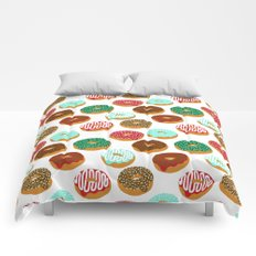 Christmas festive donuts holiday dessert junk food foodie pattern print red and green Comforters
