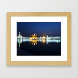 Golden Temple at Night Framed Art Print